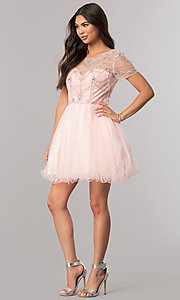 Image of short homecoming dress with beaded-illusion bodice. Style: DQ-2028 Detail Image 1