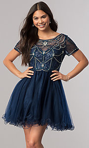 Image of short homecoming dress with beaded-illusion bodice. Style: DQ-2028 Detail Image 2