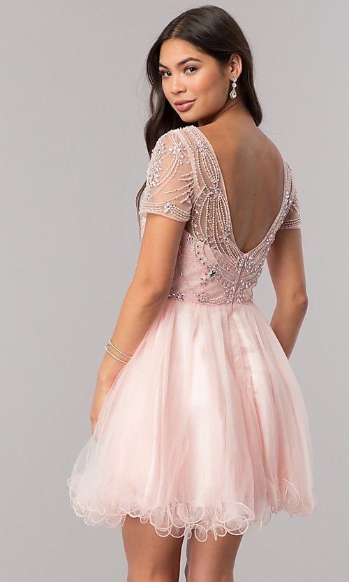 Image of short homecoming dress with beaded-illusion bodice. Style: DQ-2028 Back Image