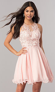Image of beaded-lace-applique short chiffon homecoming dress. Style: DQ-2076 Detail Image 1