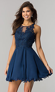 Image of beaded-lace-applique short chiffon homecoming dress. Style: DQ-2076 Front Image
