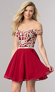 Image of short off-the-shoulder homecoming dress with v-neck. Style: DQ-9983 Front Image