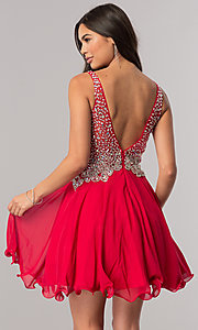 Image of short homecoming party dress with jeweled v-neck. Style: DQ-2113 Back Image