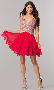 Image of short homecoming party dress with jeweled v-neck. Style: DQ-2113 Detail Image 1
