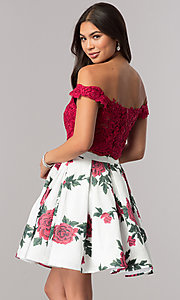 Image of two-piece homecoming dress with floral-print skirt. Style: DQ-2031 Back Image