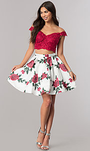 Image of two-piece homecoming dress with floral-print skirt. Style: DQ-2031 Detail Image 1