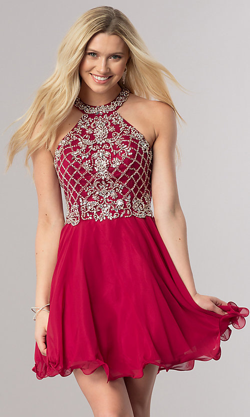 Image of short burgundy red homecoming party dress with beads. Style: DQ-2116 Front Image