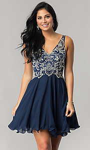 Image of v-neck short homecoming dress with jeweled bodice. Style: DQ-9998 Detail Image 2