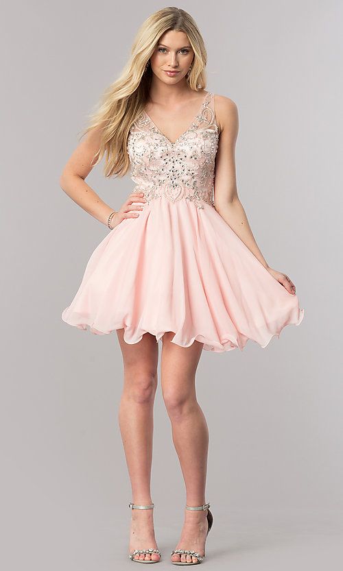 Image of v-neck short homecoming dress with jeweled bodice. Style: DQ-9998 Detail Image 1
