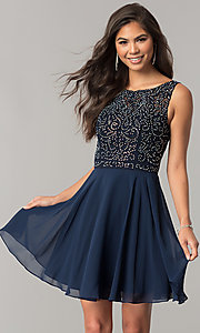 Image of chiffon short homecoming dress with lace bateau neck. Style: DQ-2135 Detail Image 2