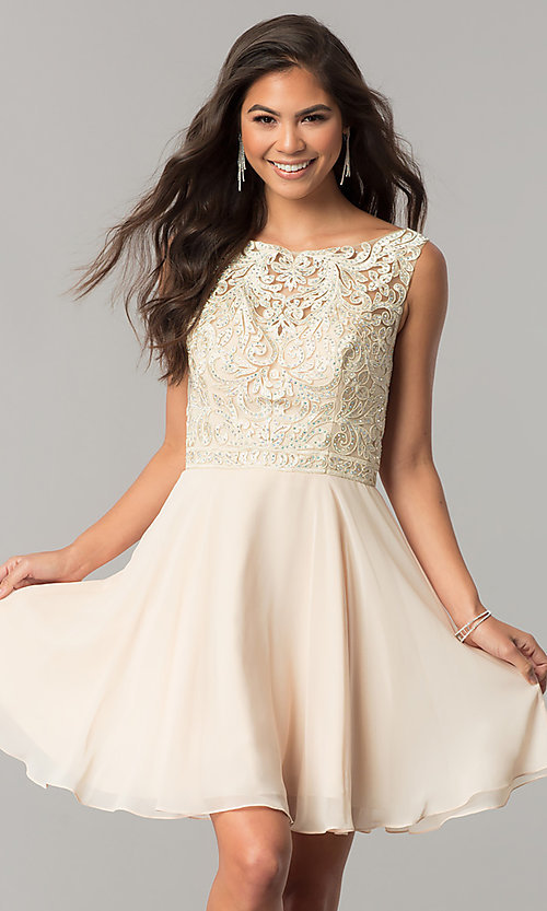Image of chiffon short homecoming dress with lace bateau neck. Style: DQ-2135 Front Image