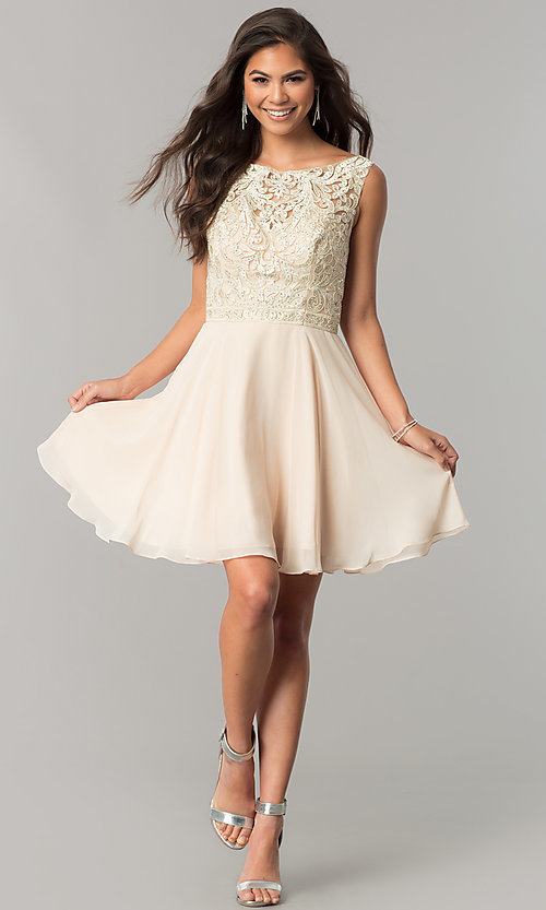Image of chiffon short homecoming dress with lace bateau neck. Style: DQ-2135 Detail Image 1