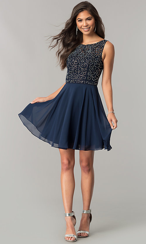 Image of chiffon short homecoming dress with lace bateau neck. Style: DQ-2135 Detail Image 3