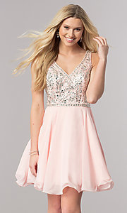 Image of v-neck short chiffon homecoming dress with beads. Style: DQ-2118 Detail Image 1