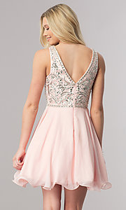 Image of v-neck short chiffon homecoming dress with beads. Style: DQ-2118 Back Image