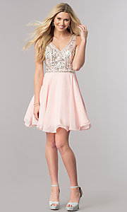 Image of v-neck short chiffon homecoming dress with beads. Style: DQ-2118 Detail Image 2