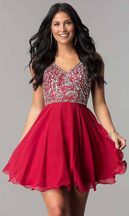 Image of v-neck short chiffon homecoming dress with beads. Style: DQ-2118 Front Image