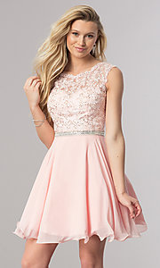 Image of short chiffon homecoming party dress in blush pink. Style: DQ-2117 Front Image