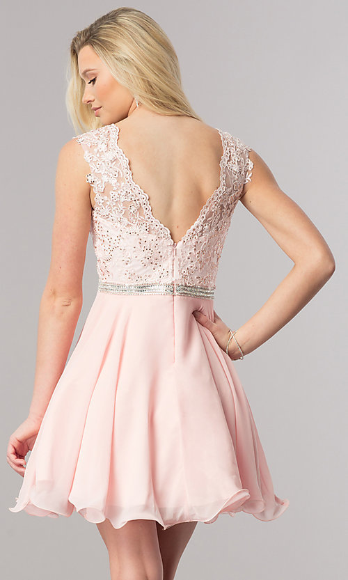 Image of short chiffon homecoming party dress in blush pink. Style: DQ-2117 Back Image