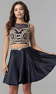 Image of short two-piece homecoming dress with lace applique. Style: DQ-2106 Front Image