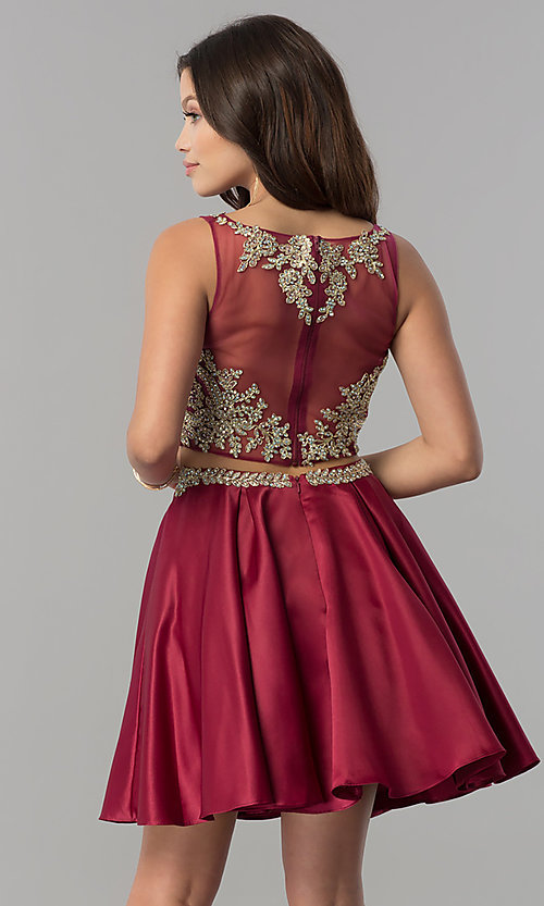 Image of short two-piece homecoming dress with lace applique. Style: DQ-2106 Detail Image 2