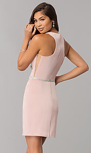 Image of short racerback homecoming dress with jeweled waist. Style: DQ-2065 Back Image
