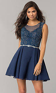 Image of chiffon short homecoming dress with lace applique. Style: DQ-2051 Front Image
