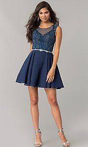 Image of chiffon short homecoming dress with lace applique. Style: DQ-2051 Detail Image 3