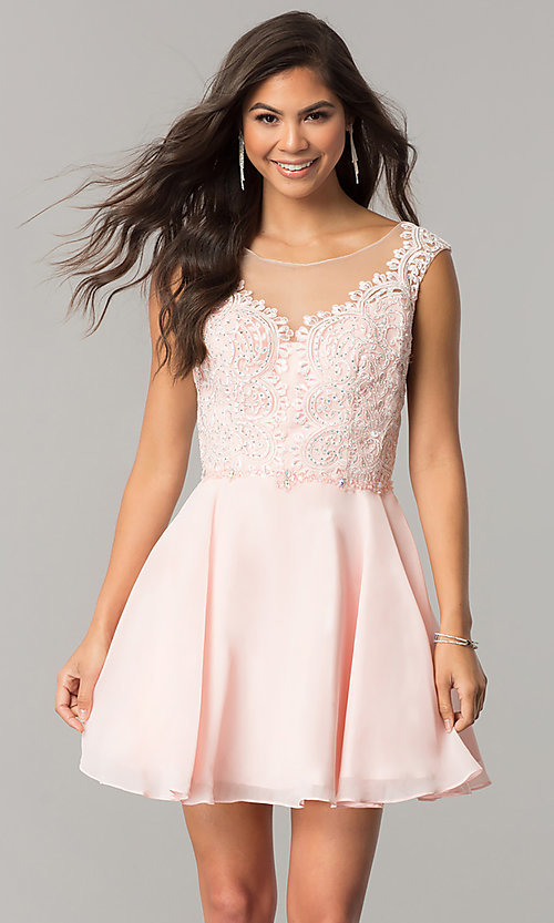 Image of chiffon short homecoming dress with lace applique. Style: DQ-2051 Detail Image 1