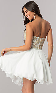 Image of short strapless sweetheart party dress with beads. Style: DQ-2049 Back Image