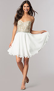 Image of short strapless sweetheart party dress with beads. Style: DQ-2049 Detail Image 1