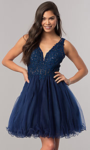 Image of short v-neck homecoming dress with lace applique. Style: DQ-2054 Front Image