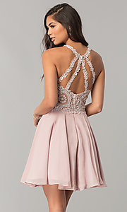 Image of short homecoming dress with lace appliques. Style: DQ-9997 Back Image