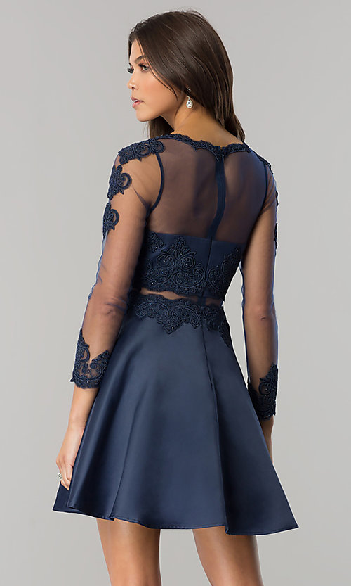 Image of long-sleeve mock-two-piece homecoming dress. Style: DQ-2034 Back Image