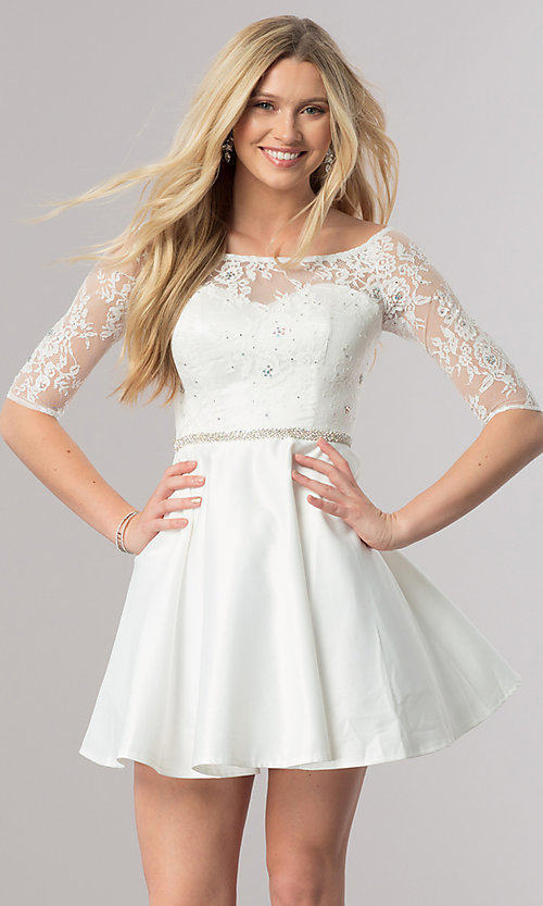 Image of short homecoming dress with three-quarter sleeves. Style: DQ-2112 Front Image