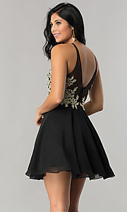 Image of sparkling-lace-bodice short chiffon homecoming dress. Style: DQ-2078 Back Image