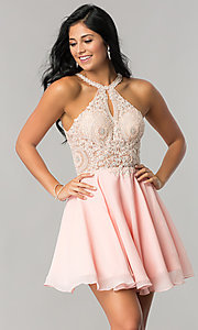 Image of sparkling-lace-bodice short chiffon homecoming dress. Style: DQ-2078 Front Image