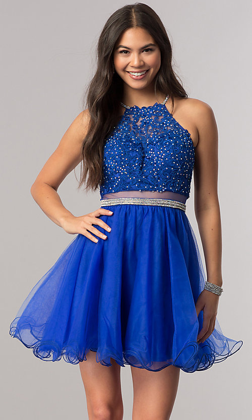 Image of mock-two-piece homecoming dress with sheer waist. Style: DQ-2033 Detail Image 3