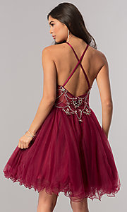 Image of babydoll burgundy red short homecoming dress. Style: DQ-2102 Back Image