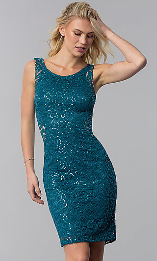 Lace and Sequin Wedding-Guest Short Party Dress
