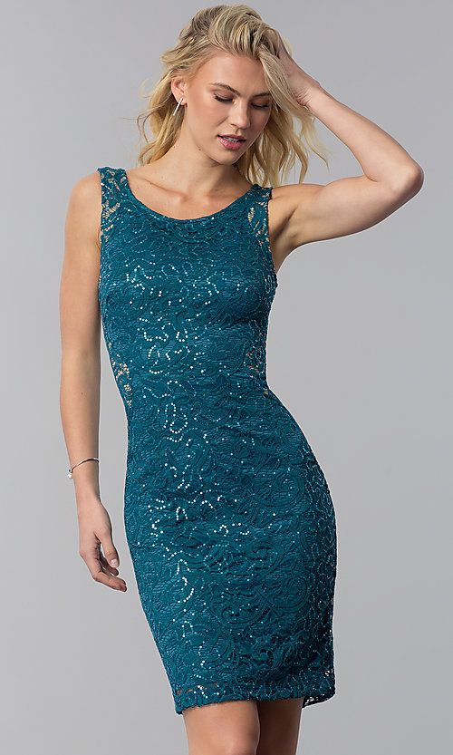 Lace And Sequin Wedding Guest Short Party Dress
