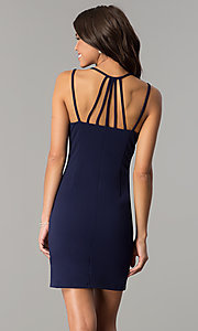 Image of open-back short homecoming party dress in navy blue. Style: JOJ-JE-17531PG Back Image