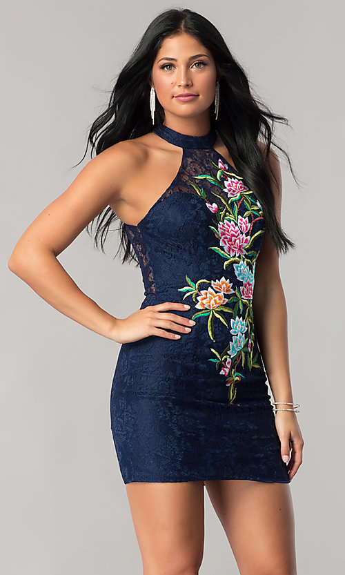 Short Navy Blue Lace Mini Homecoming Dress