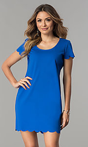 Image of short-sleeve short shift party dress. Style: JU-TI-T0358 Detail Image 2