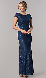 Image of short-sleeve long lace wedding-guest dress. Style: SF-8841 Front Image
