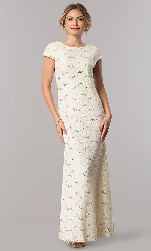 Image of short-sleeve long lace wedding-guest dress. Style: SF-8841 Detail Image 2