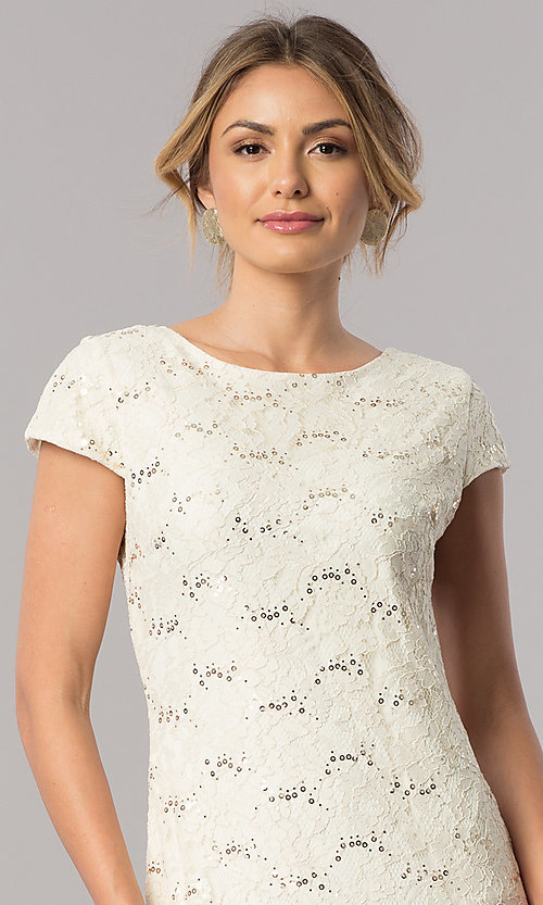 Image of short-sleeve long lace wedding-guest dress. Style: SF-8841 Detail Image 3