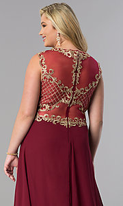 Image of long plus-size prom dress with lace applique bodice. Style: FB-GL2316P Detail Image 2