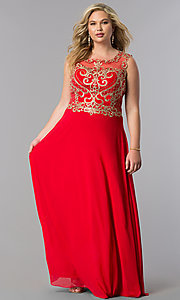Image of long plus-size prom dress with lace applique bodice. Style: FB-GL2316P Detail Image 3
