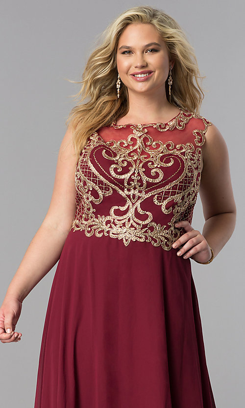 Image of long plus-size prom dress with lace applique bodice. Style: FB-GL2316P Detail Image 1